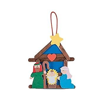 Fun Express Nativity Craft Stick Ornament Craft Kit - Makes 12 - Christmas Crafts for Kids