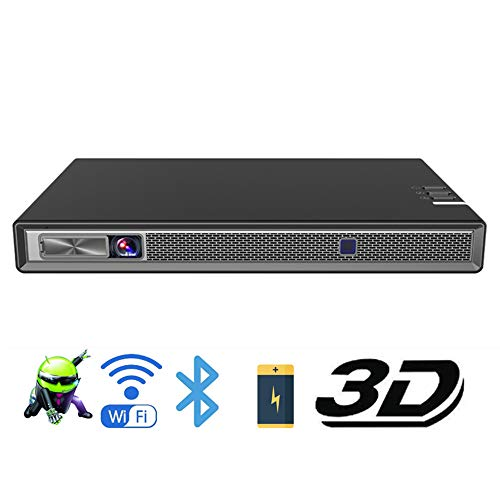 Proyector 3D DLP, HD, 4K, batería, con Zoom, Keystone automático, Android 6.0, WiFi, LED Smart Proyector, Bluetooth Airplay