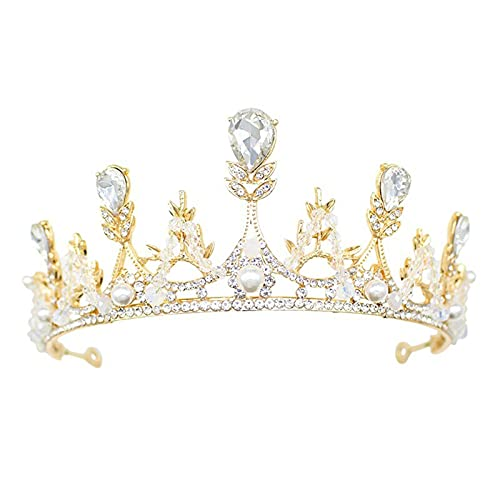 DTKJ - Set di gioielli da sposa, con diadema in cristallo, corona da principessa, accessorio per capelli per ragazze, collana e orecchini (argento)