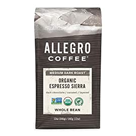 Allegro Coffee Organic Espresso Sierra Whole Bean Coffee, 12 oz 8 <p>Brought to you by Whole Foods Market Specialty whole bean coffee Medium dark roast Dark chocolate, caramel, layered</p>