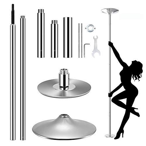 Pole Dance Tanzstange, 45 mm Durchmesser Einstellbare Länge Professional Stangentanz Set, Tragbar Abnehmbar Tabledance Strip Stange mit Statisch + Spinning-Funktion Roluck
