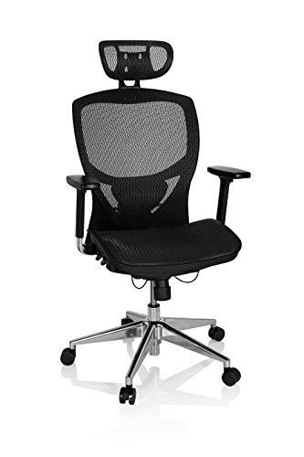 hjh OFFICE 657000 Sedia da ufficio / Sedia girevole VENUS ONE mesh nero, sostegno lombare flessibile, braccioli regolabili, profondità regolabile, base in alluminio lucidato, schienale regolabile in altezza