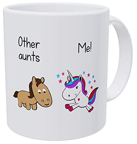 Other Aunts, Me Aunt Funny Purple Unicorn - Tazas de café blanco para mujer