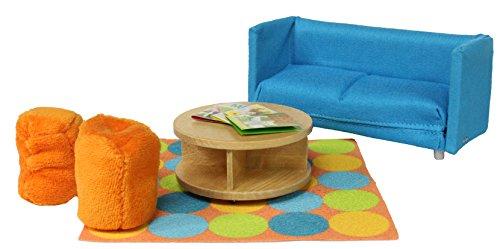 Lundby 60.2058.00 - Smaland: Sofa mit Tisch und Sitzhockern für Puppenhaus