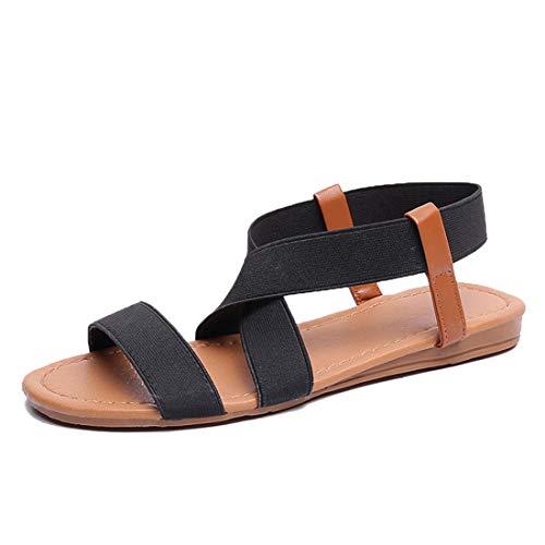 Husmeu Elastic Cute Flat Sandals for Women Casual Summer Beach Shoes Sandal Vacation Travel Gladiator Sandals Black 8.5-9