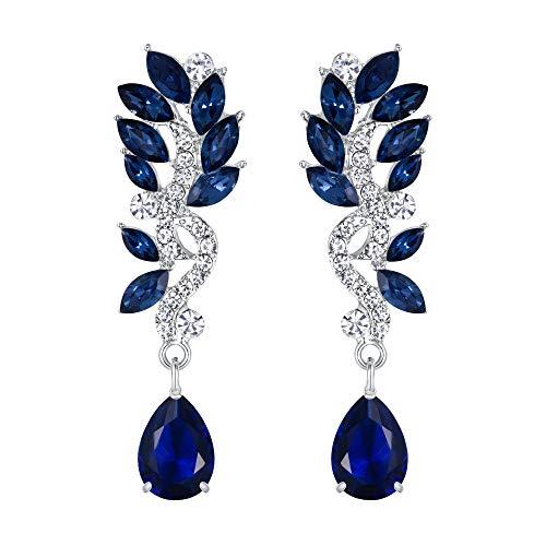 EVER FAITH Mujer Cristal Boda Flor Lágrima Araña Pendientes Colgante Azul Tono Plateado