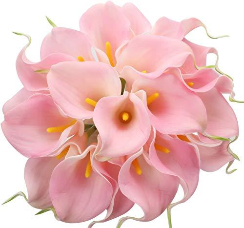 Tifuly 24 Piezas de Lirios Artificiales de látex, Ramos de Flores Falsos de Lirio de Tallo Realista para el hogar, Bodas, Fiestas, decoración de oficinas, arreglos Florales (Rosado)