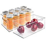 mDesign Deep Plastic Kitchen Storage Organizer Container Bin with Handles for Pantry, Cabinets, Shelves, Refrigerator, Freezer - BPA Free - 14.5' Long, 2 Pack - Clear