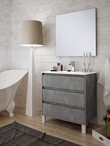 Aquore | Mueble de Baño con Lavabo y Espejo | Mueble Baño Modelo Balton 3 Cajones con Patas | Muebles de Baño | Diferentes Acabados Color | Varias Medidas (Cemento, 100 cm)