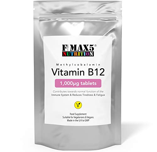 Vitamin B12 1000mcg Tablet Supplement to Reduce Fatigue and Support Immune System Health, 30-365 Tablets (1 Month to Full Year Supply) by FMax5 Supplements (60)
