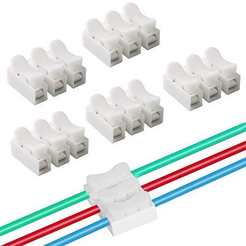 QitinDasen 40Pcs CH3 Connecteur Ressort Rapide, Bornier Connexion Rapide, Connecteur Fils Printemps, Connecteur Ressort Serre-Fils, pour Fil de Lumière de LED Bande