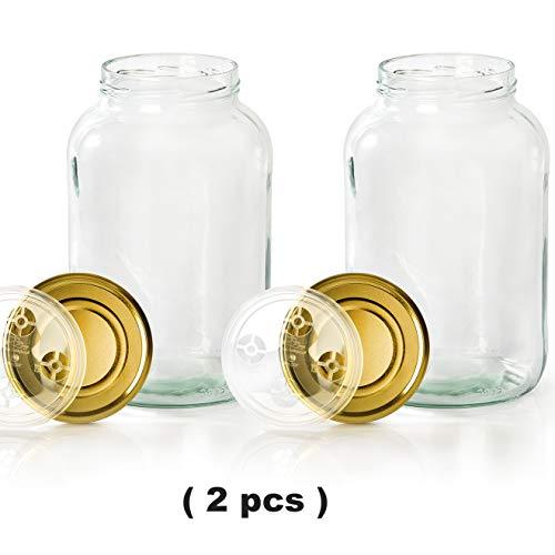 myFERMENTS Gläser mit Deckel - 4,25 l großes Fermentierglas zur Herstellung von Kombucha, Kimchi, Kefir - XL Einmachglas Flasche mit weiter Öffnung zum Einlegen, Fermentieren - 2er Set
