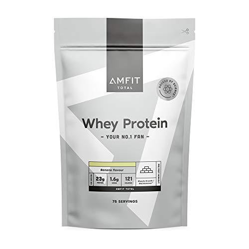 Marca Amazon - Amfit Nutrition Proteína de Suero de Leche en Polvo 2.27kg - Plátano (anteriormente PBN)