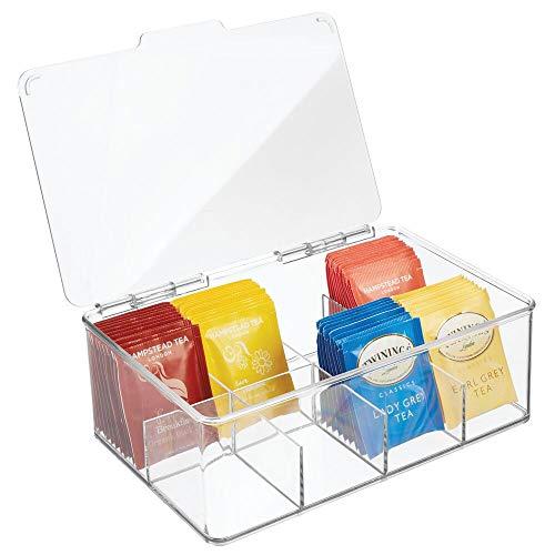 mDesign Caja para té con 8 compartimentos – Caja para bolsas de té con tapa abatible para proteger el contenido – Caja de plástico para guardar té e infusiones – transparente