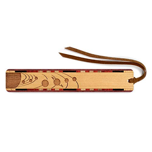 Outer Space - Planets Orbiting Engraved Wooden Bookmark with Suede Tassel - Search B0711JJN3V for Personalized Version