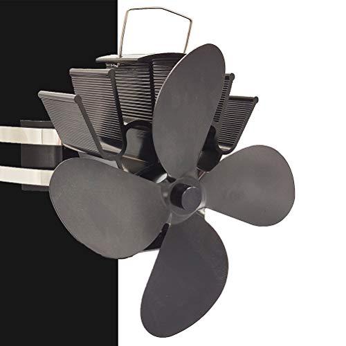 Stroomloze ventilator kachelventilator voor houtkachels/brander open haard ventilator, met 4 rotorbladen, zuiver geluid, milieuvriendelijk, zwart
