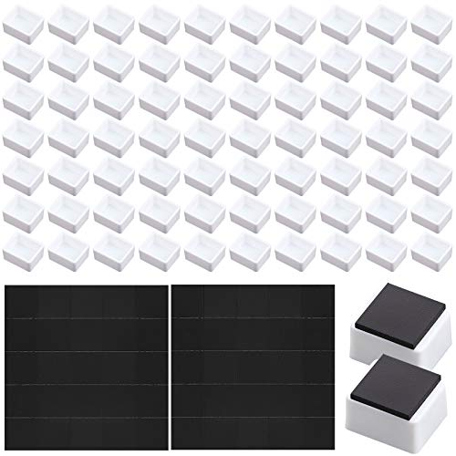 100 Pieces Empty Watercolor Half Pan with 50 Pieces Magnets, White Plastic Half Pan Plastic Watercolor Tins Fit for Watercolor Oils or Acrylics Palette Travel Tins Paint Case