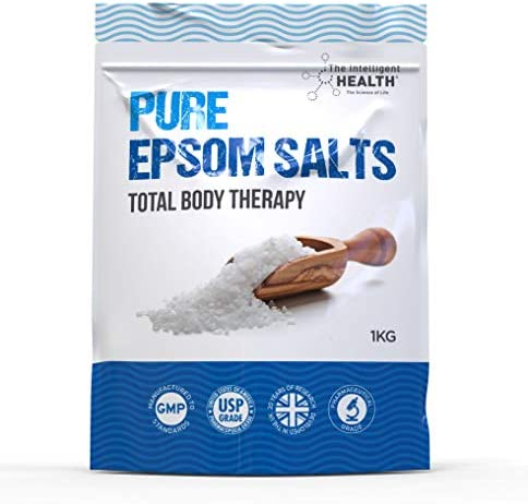 Pure Epsom Salts | Magnesium Sulphate Bath Salt | 1 Kg Pack by The Intelligent Health | Ideal for Relieving Sore Muscles | Reduces Inflammation