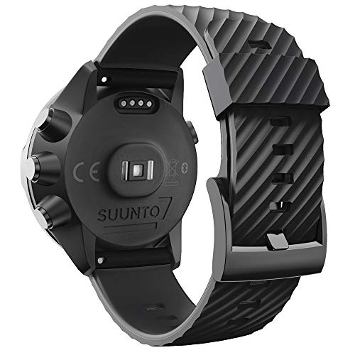 WIIKAI Armband Ersatzarmbänder kompatibel für suunto 7/9/9 baro/Spartan Sport/D5 Silikon Ersatz Uhrenarmbänder.(Schwarz)