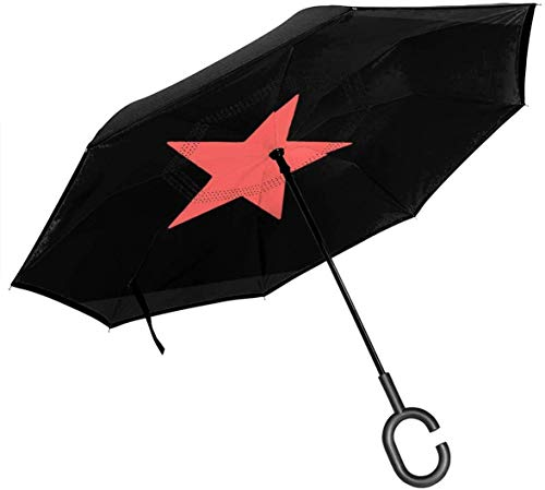 Big Straight Inverted Umbrella Inside Out Regenschirm 2-lagig Faltbarer, winddichter UV-Schutz Selbstständer Mit C-förmigem Griff Innen Icon Print Für Auto Regen Outdoor 8 Skelett