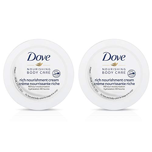 Dove Nourishing Body Care Rich Nourishment Cream with 48 Hour Moisturization, 2.53 FL OZ (Pack of 2)