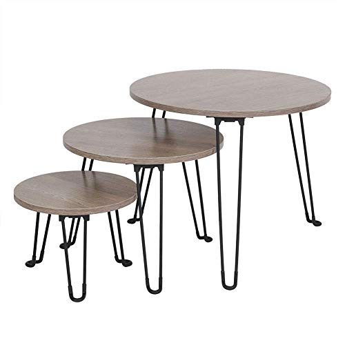 FGDSA Set Of 3 Nesting Tables Coffee Table Set End Side Tables Stackable Tea Tables Wood With Metal Legs, Dark Brown