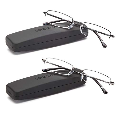 DOUBLETAKE Reading Glasses - 2 Pairs Compact Case Semi Rimless Readers - 1.75