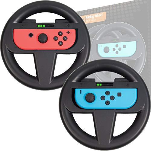 Orzly Volante Nintendo Switch (Confezione Doppia) – Confezione di Accessori Neri per i Telecomandi Joy-con del Nintendo Switch