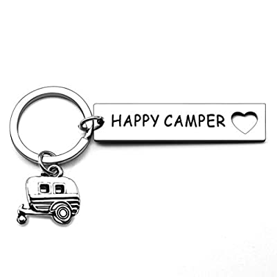 Happy Camper RV Keychain Gift Trailer Jewelry Accessories Camping for Women Men Camper Lover Jeep Owner Vacation Jewelry Christmas Keyring Gift by Isiyu