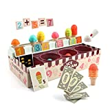 TOP BRIGHT Ice Cream Counter Toy for Kids, Toddlers Stackable Toy Ice Cream Cone Playset, Pretend Play Food Shop Toys for Baby Age 2 3 4 Years Old