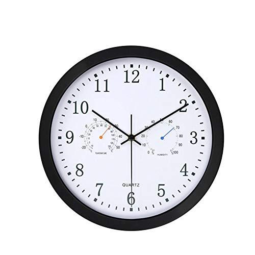 TOLYZ Termómetro analógico Redondo para el hogar, higrómetro, Cuarzo silencioso, Oficina, decoración de Arte precisa, Reloj de Pared, con Pilas