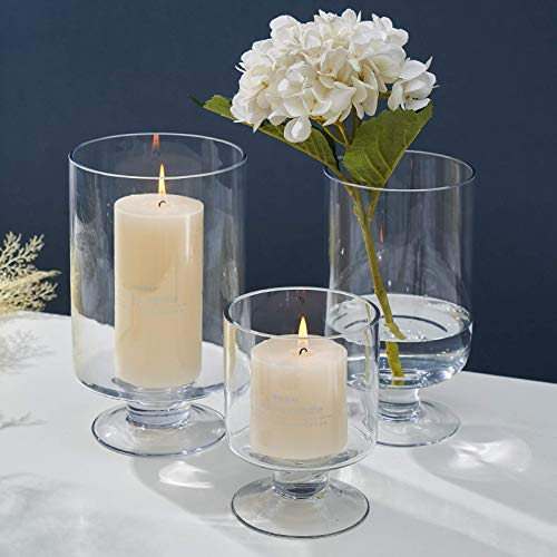 3PC Set Clear Glass Votive Stemmed Candle Holder Round Vases - Fit for 4'-7' Height Pillar Candle, Ideal for Table Centerpieces Decoration (Not Included Candles)