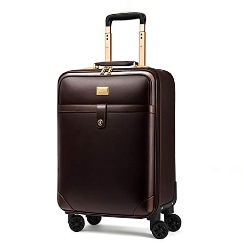 Mdsfe New retro 16/18/20/22/24 inch men business genuine leather hand luggage on wheels cabin travel trolley bags vs trolley suitcase - coffee, 24'