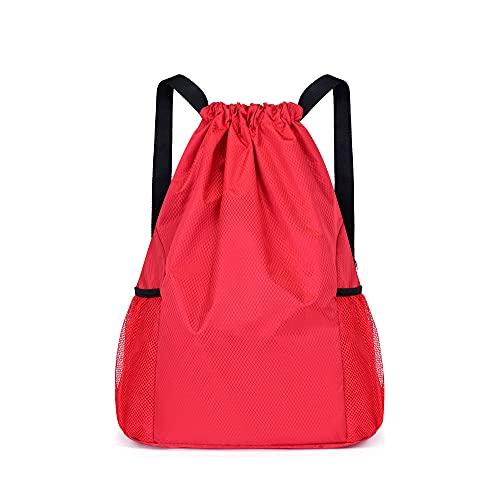 Bolsa para cuerdas con cordón y bolsillos de malla, deportiva, para viajes, gimnasio, cinch Sack, ligera, para hombres y mujeres