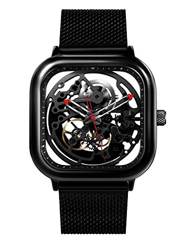 Reloj Hombres Esqueleto Automático Mecánico Analógico Correa de Acero Inoxidable Malla Reloj de Diseño Hueco Reloj Cuadrado