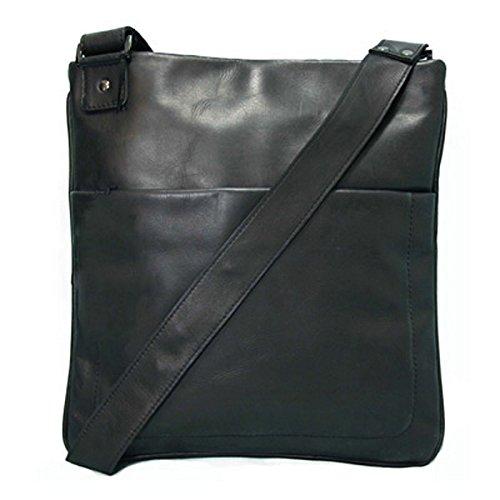 BACCINI schoudertas echt leer Matteo schoudertas 11-inch laptop handtas met schouderriem zwart
