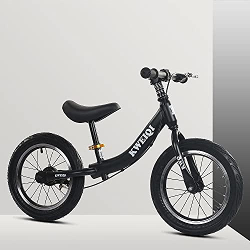 Utron Bicicleta de Balance de 14 Pulgadas, para niños y niñas de 2 a 7 años de Edad, Bicicleta de pedalless progresiva Ajustable con Asiento Ajustable y Freno Trasero,Black