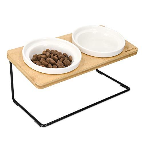 Navaris Futternapf Trinknapf Set mit Halterung - 2X Fressnapf aus Keramik - erhöhte Futterstation aus Metall und Bambus Holz - für Hund und Katze