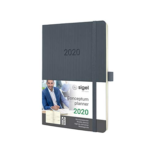 SIGEL C2036 Wochenkalender 2020, ca. A5, dunkelgrau, Softcover Conceptum - weitere Modelle