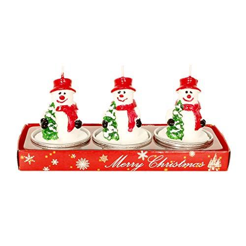 Yunso - Juego de 3 velas de Papá Noel, muñeco de nieve