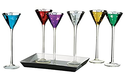 Artland Stars Assorted Color 1.5 Ounce Conical Cordial Glass, Set of 6 with Tray