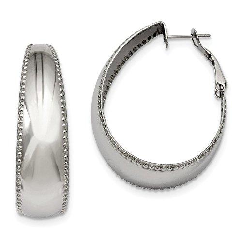 Pendientes de aro ovalados de acero inoxidable pulido Omega con borde texturizado 40 mm para mujer