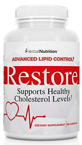 #1 Rated Restore - Best Cholesterol Lowering Supplement, Advanced Lipid Control, 1 Bottle 60 Capsules, Cardiovascular Health Using All-Natural Bio-Actives, Lower Cholesterol in 90 Days Guaranteed
