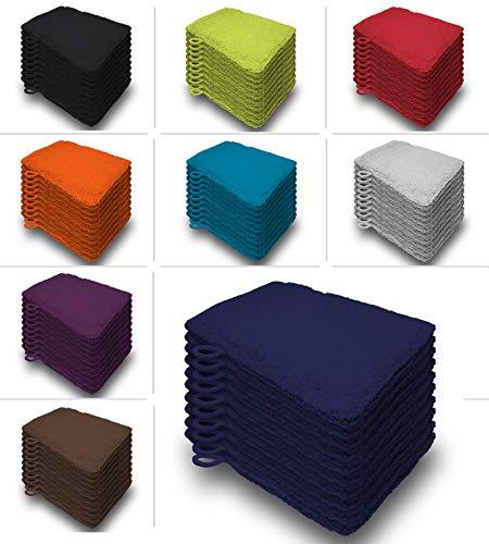 one-home 10er Set Waschhandschuhe Waschhandschuh Waschlappen 16x21 cm Frottee Baumwolle, Farbe:Marine/Navy