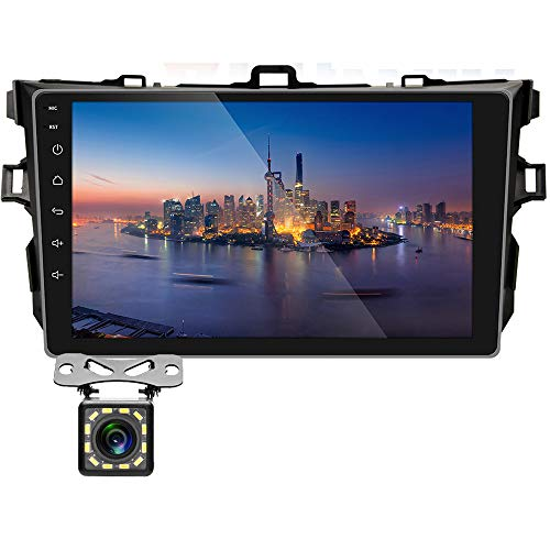 UNITOPSCI Car Stereo Android 8.1 Navigation Stereo for Toyota Corolla 2009-2012 Double Din Car Radio 9'' HD Touch Screen 1G 16G GPS Navigation WiFi Bluetooth FM Radio USB Mirror Link + Backup Camera