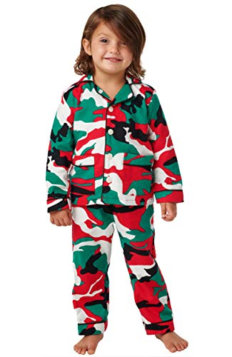 Alexander Del Rossa Kids Flannel Button Down Pajama Set, Long Cotton Pjs for Boys and Girls, 2T Christmas Camouflage - Kids (A0441N262T)
