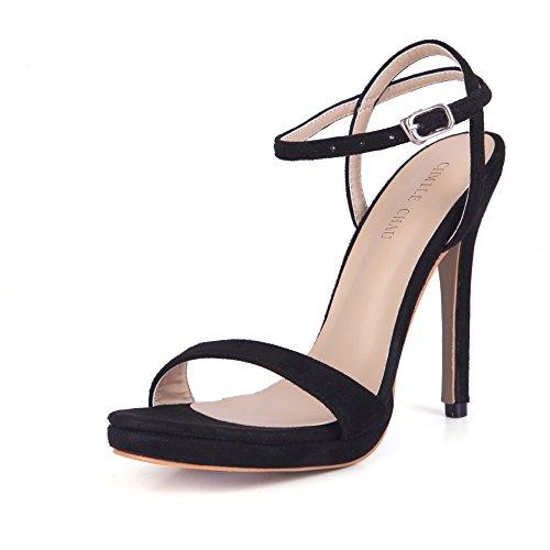CHMILE CHAU-Zapatos para Mujer-Sandalias de Tacon Alto de Aguja-Sexy-Vestido de Fiesta-Correa de Tobillo-Plataforma 1cm