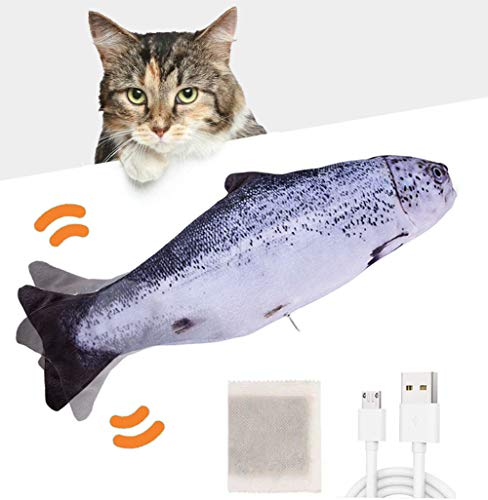 Huarumei Katzenspielzeug Fisch, Katzenspielzeug Elektrisch Fisch, Spielzeug Katze mit Katzenminze und USB, Zappelfisch für Katzen Interaktiv Lassen sie Katzen Spielen Beißen Kauen und Treten