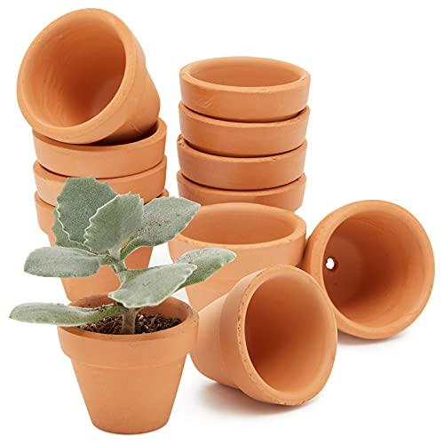 Macetas de terracota de tamaño mini, 4,8 cm, con agujero de drenaje, para vivero, cactus y plantas...
