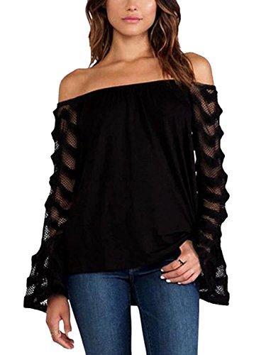 YOINS Sexy Oberteil Damen Schulterfrei Schulter Tshirt Kurzarm Langarm Pullover Sexy Leopard Frühling und Sommer T-Shirt Tops Oberteile Blusen Schwarz XS